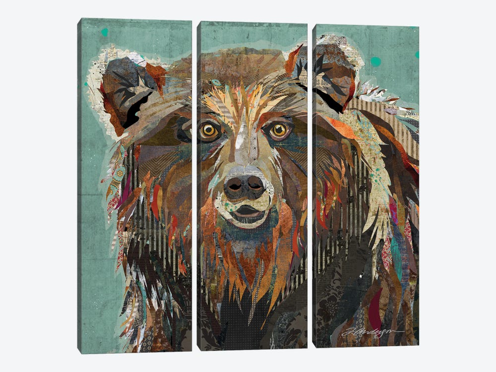 Majestic Montana Grizzly Bear by Traci Anderson 3-piece Canvas Wall Art