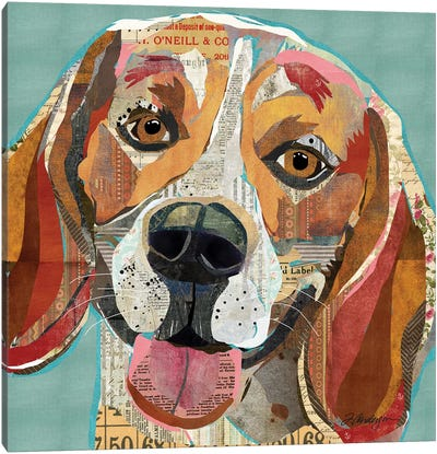 Cheerful Collage Beagle Canvas Art Print