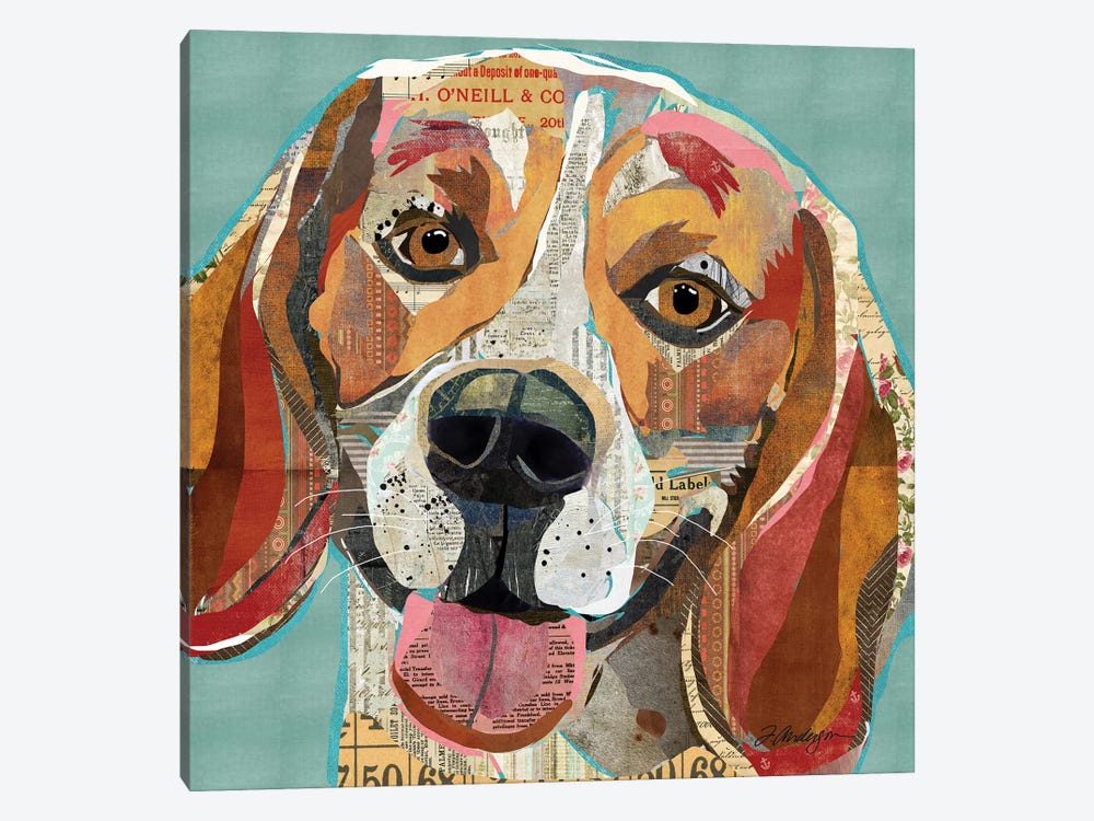 Cheerful Collage Beagle by Traci Anderson 1-piece Canvas Art