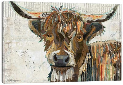 Colorful Highland Cow Canvas Art Print