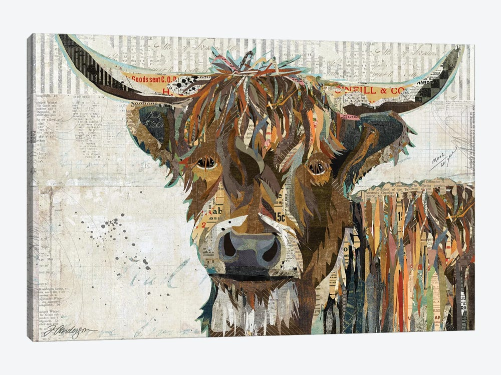 Colorful Highland Cow by Traci Anderson 1-piece Canvas Artwork