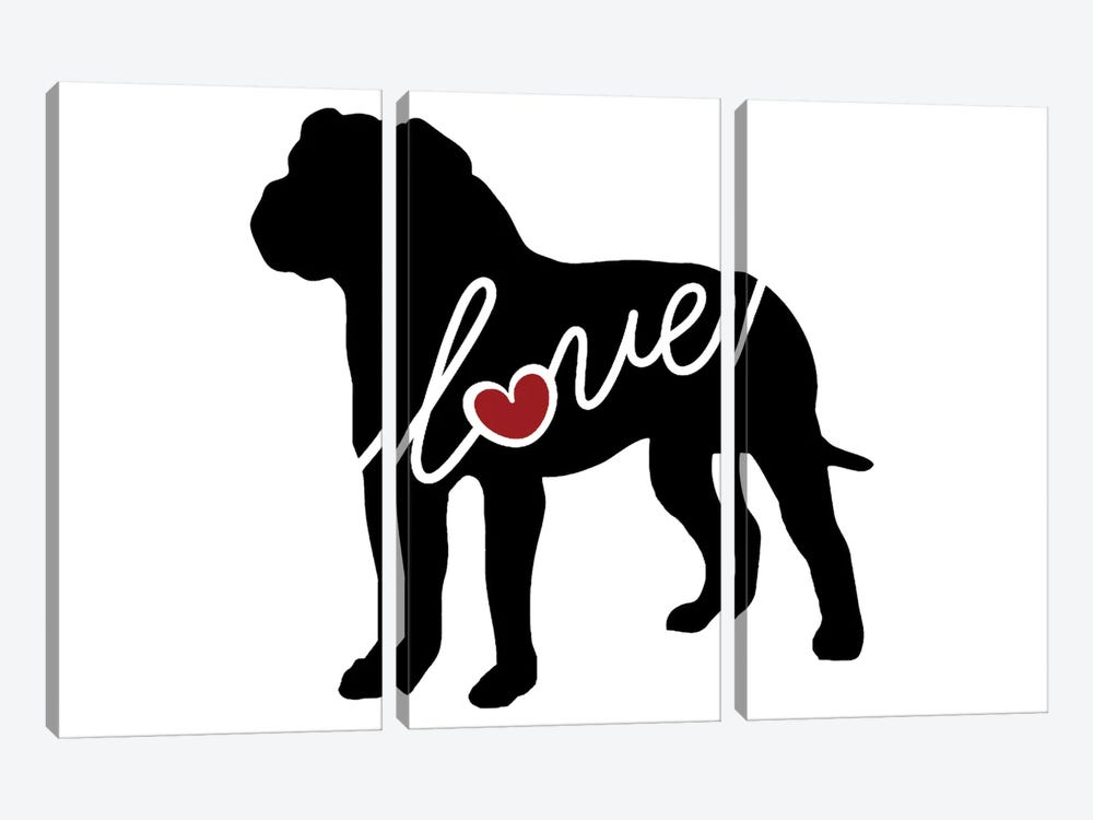 American Bulldog by Traci Anderson 3-piece Canvas Wall Art