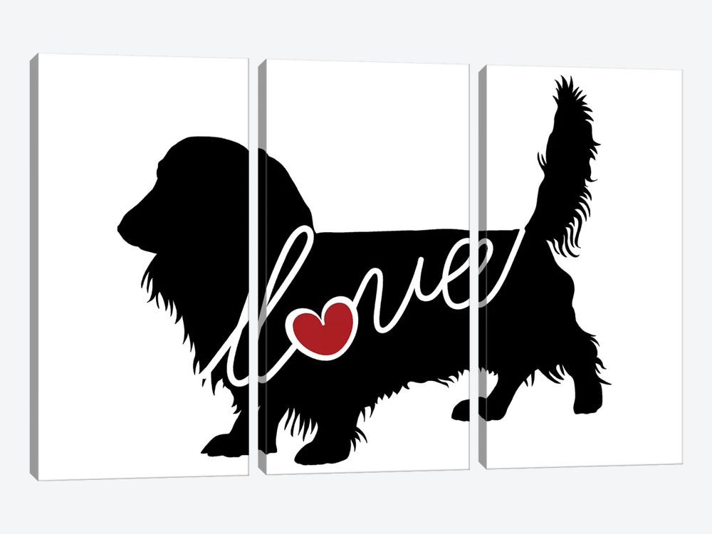 Long Haired Dachshund II by Traci Anderson 3-piece Canvas Wall Art