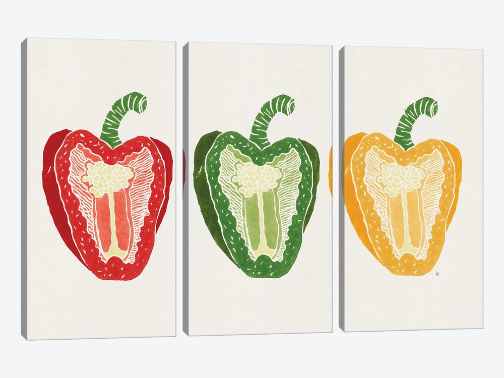 Mixed Peppers by Tracie Andrews 3-piece Canvas Wall Art