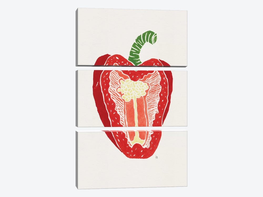 Red Pepper by Tracie Andrews 3-piece Canvas Art Print