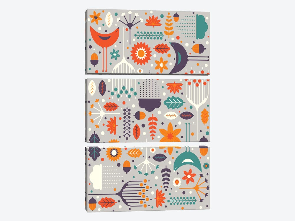 Flora And Fauna by Tracie Andrews 3-piece Canvas Wall Art