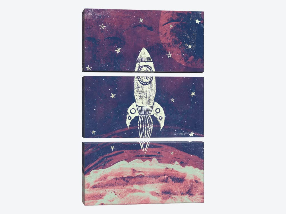Space Adventure by Tracie Andrews 3-piece Canvas Print
