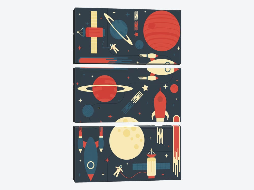 Space Odyssey by Tracie Andrews 3-piece Art Print