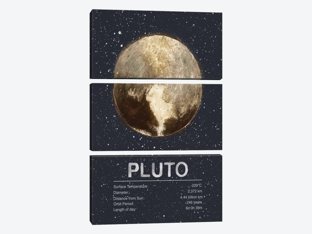 Pluto by Tracie Andrews 3-piece Canvas Wall Art