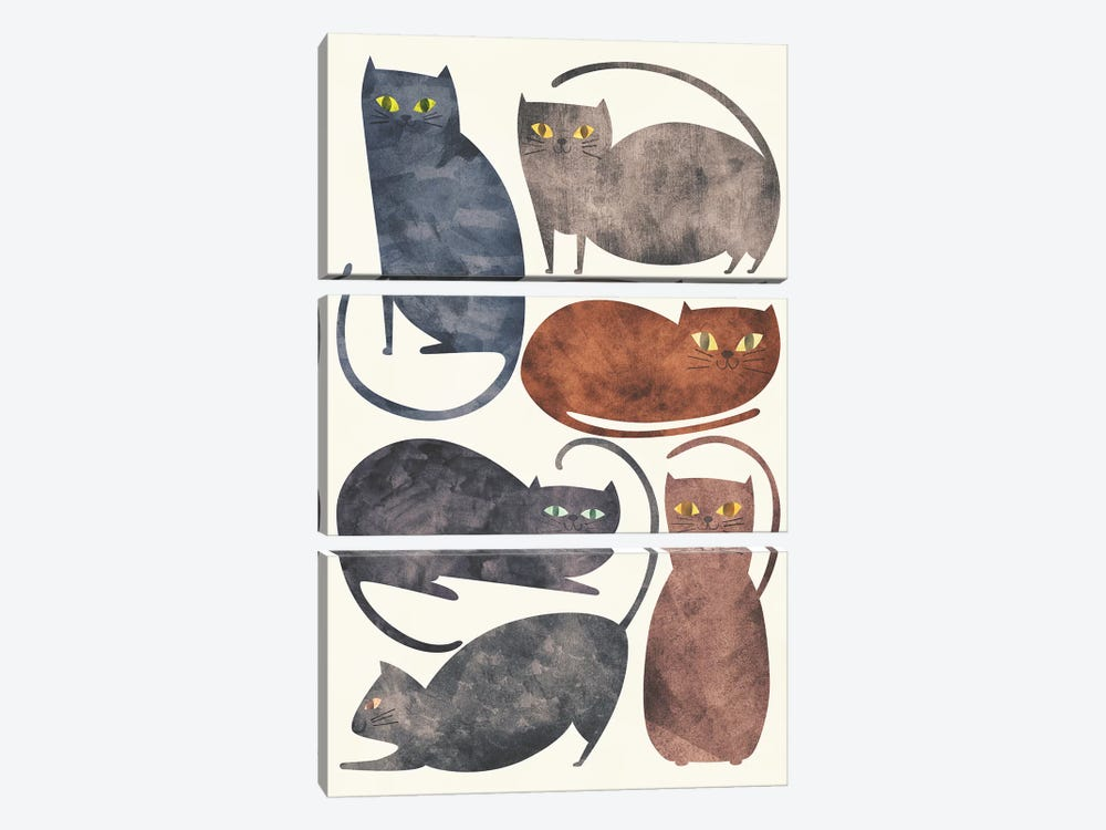 Cats by Tracie Andrews 3-piece Canvas Print