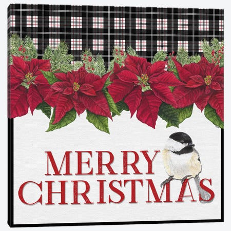 Chickadee Christmas Red II - Merry Christmas Canvas Print #TRE100} by Tara Reed Canvas Print