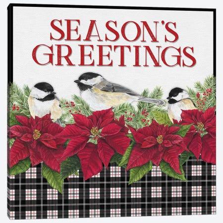 Chickadee Christmas Red IV - Seasons Greetings Canvas Print #TRE102} by Tara Reed Art Print