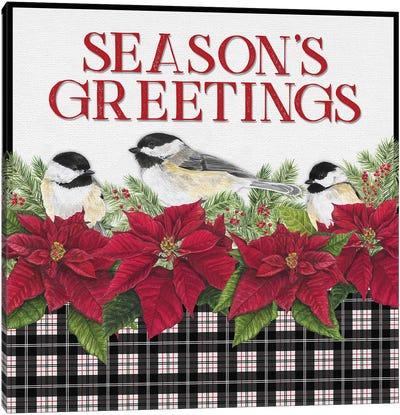 Chickadee Christmas Red IV - Seasons Greetings Canvas Art Print