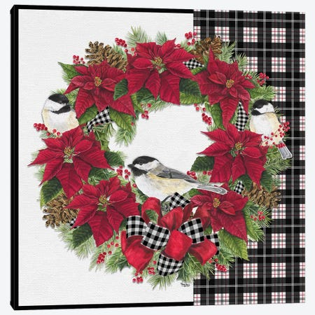 Chickadee Christmas Red V - Wreath Canvas Print #TRE103} by Tara Reed Canvas Art Print