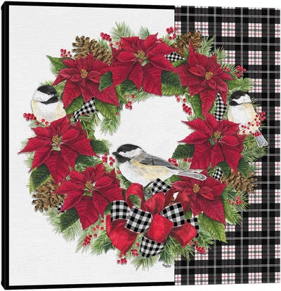 Chickadee Christmas Red V - Wreath Canvas Art Print