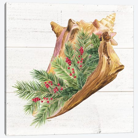Christmas By The Sea Conch Canvas Print #TRE104} by Tara Reed Canvas Artwork