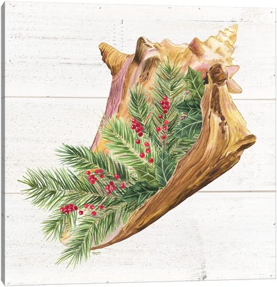Christmas By The Sea Conch Canvas Art Print