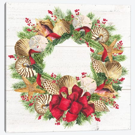 Christmas By The Sea Wreath square Canvas Print #TRE110} by Tara Reed Canvas Wall Art