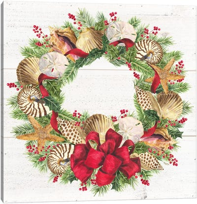 Christmas By The Sea Wreath square Canvas Art Print