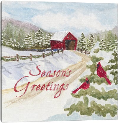 Christmas In The Country II Seasons Greetings Canvas Art Print