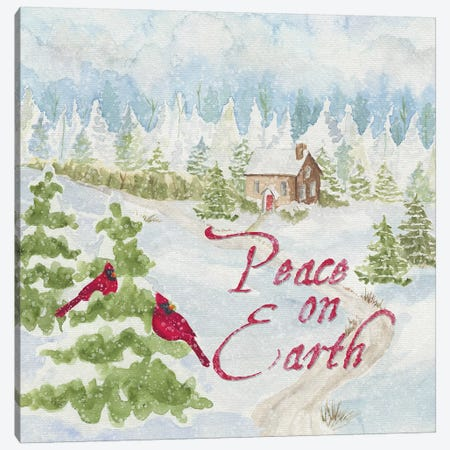 Christmas In The Country III Peace on Earth Canvas Print #TRE113} by Tara Reed Canvas Artwork