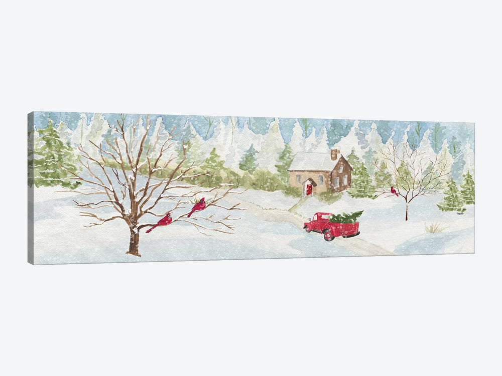 Christmas In The Country With Red Truck by Tara Reed 1-piece Canvas Print