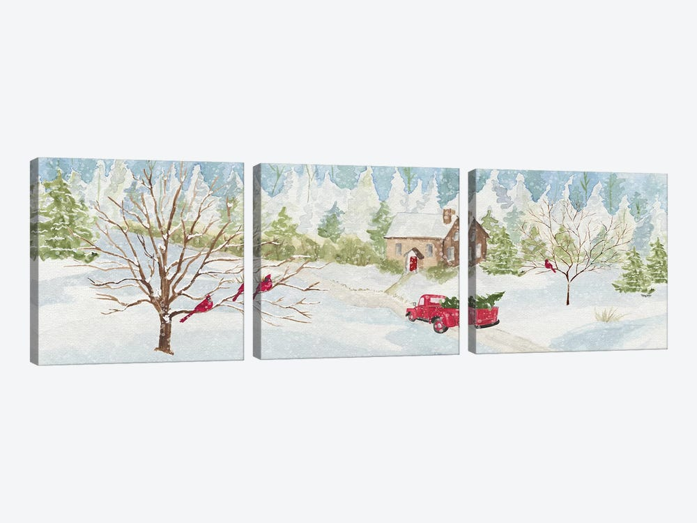 Christmas In The Country With Red Truck by Tara Reed 3-piece Art Print