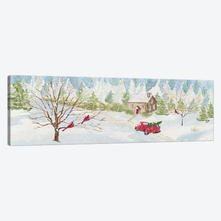 Christmas In The Country With Red Truck Canvas Print #TRE115} by Tara Reed Canvas Art Print