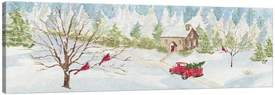 Christmas In The Country With Red Truck Canvas Art Print