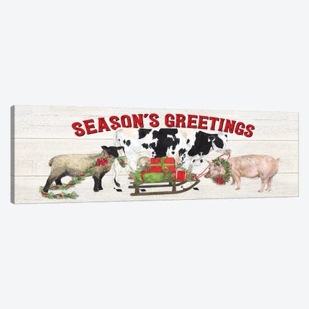 Christmas On The Farm - Seasons Greetings Canvas Print #TRE118} by Tara Reed Canvas Art