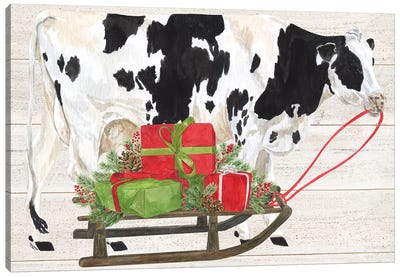 Christmas On The Farm I - Cow with Sled Canvas Art Print