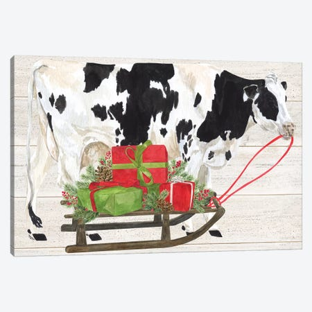 Christmas On The Farm I - Cow with Sled Canvas Print #TRE119} by Tara Reed Canvas Artwork