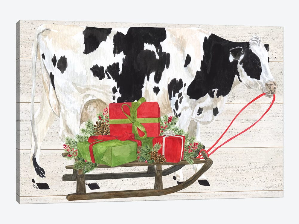 Christmas On The Farm I - Cow with Sled by Tara Reed 1-piece Canvas Print