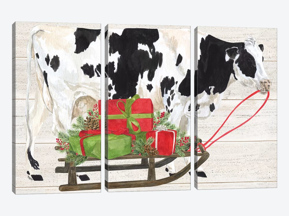 Christmas On The Farm I - Cow with Sled by Tara Reed 3-piece Canvas Print