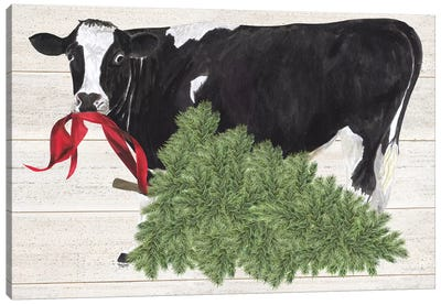 Christmas On The Farm II - Cow with Tree Canvas Art Print
