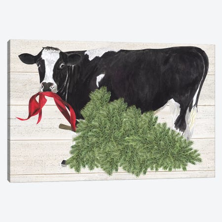 Christmas On The Farm II - Cow with Tree Canvas Print #TRE120} by Tara Reed Art Print