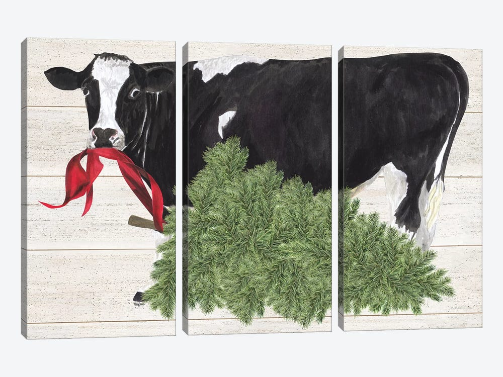 Christmas On The Farm II - Cow with Tree by Tara Reed 3-piece Canvas Art Print