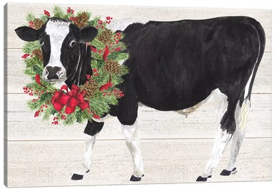 Christmas On The Farm III - Cow with Wreath Canvas Art Print