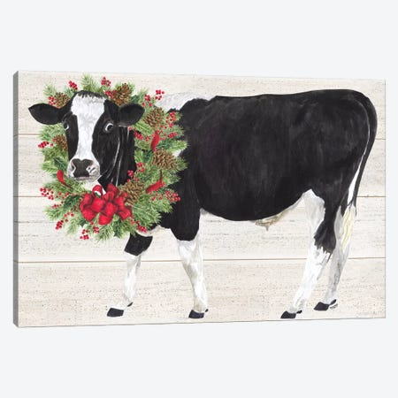 Christmas On The Farm III - Cow with Wreath Canvas Print #TRE121} by Tara Reed Canvas Art Print