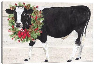 Christmas On The Farm III - Cow with Wreath Canvas Art Print