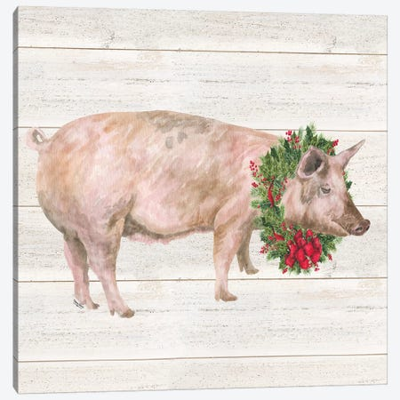 Christmas On The Farm IV - Pig Canvas Print #TRE122} by Tara Reed Canvas Print