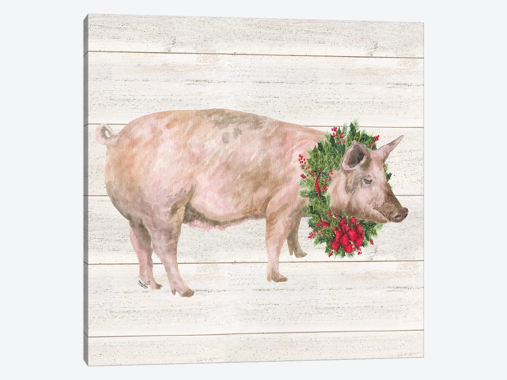 Christmas On The Farm IV - Pig by Tara Reed 1-piece Canvas Art Print
