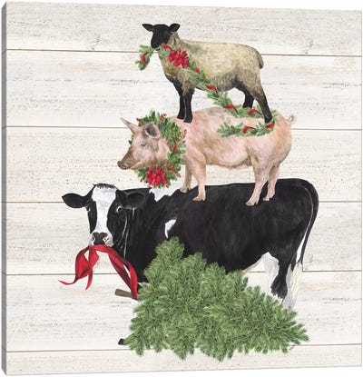 Christmas On The Farm VI - Trio Facing Left Canvas Art Print