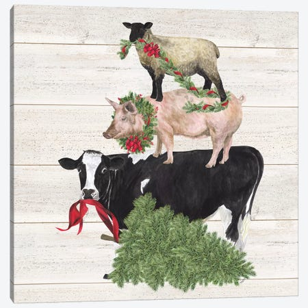 Christmas On The Farm VI - Trio Facing Left Canvas Print #TRE124} by Tara Reed Canvas Art