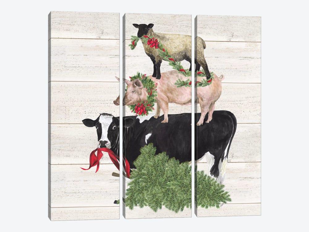 Christmas On The Farm VI - Trio Facing Left by Tara Reed 3-piece Canvas Print