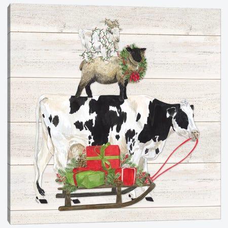 Christmas On The Farm VII Trio Facing Right Canvas Print #TRE125} by Tara Reed Canvas Wall Art