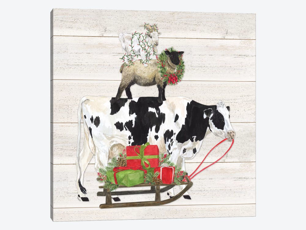 Christmas On The Farm VII Trio Facing Right by Tara Reed 1-piece Canvas Wall Art