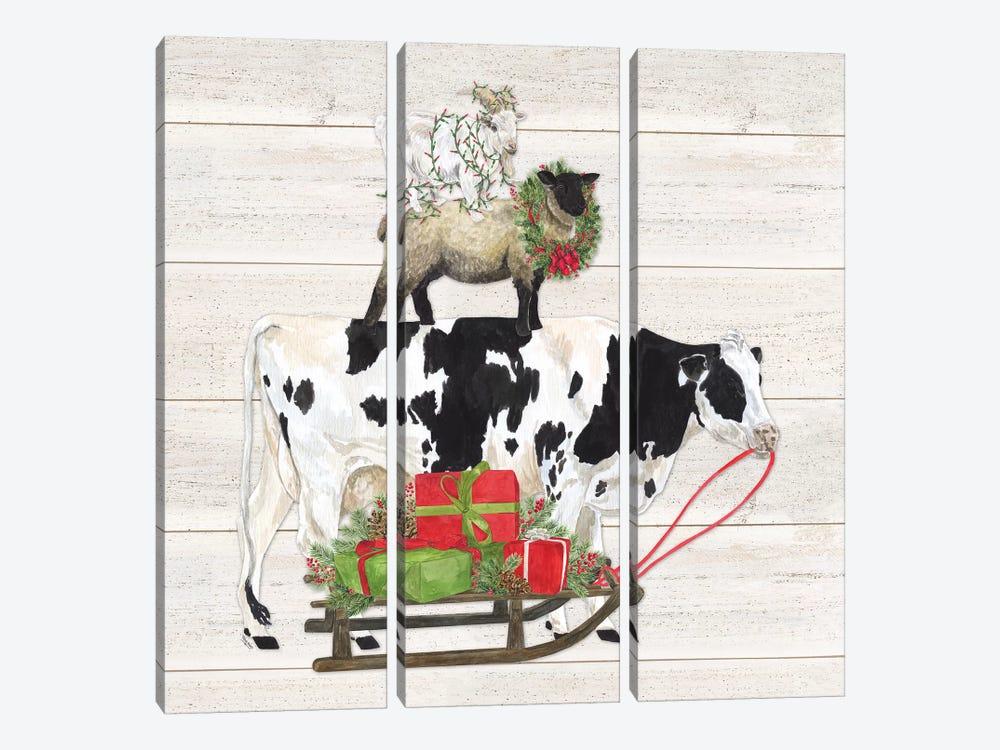 Christmas On The Farm VII Trio Facing Right by Tara Reed 3-piece Canvas Art