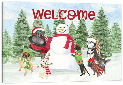 Dog Days Of Christmas - Welcome Canvas Art Print