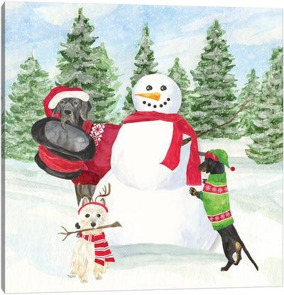 Dog Days Of Christmas I - Building Snowman Canvas Art Print
